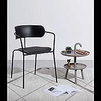 LRZS-Furniture 北欧の椅子クリエイティブアイアンアートチェア現代の家庭用レジャーデスクチェアイン純赤い椅子アームチェアシンプルなダイニングチェア (色 : 黒)
