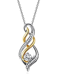 "Caperci Sterling Silver and Gold Plated 1ct Cubic Zirconia Diamond Accent ""MOM"" Flame Twist Pendant Necklace for Women"