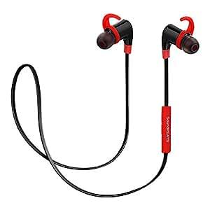 SoundPEATS【メーカー直販/1年保証付】Bluetooth イヤホン 高音質 apt-Xコーデック採用 ハンズフリー通話 防水 防滴 スポーツ仕様 ワイヤレス イヤホン Q6 (ブラック/レッド)