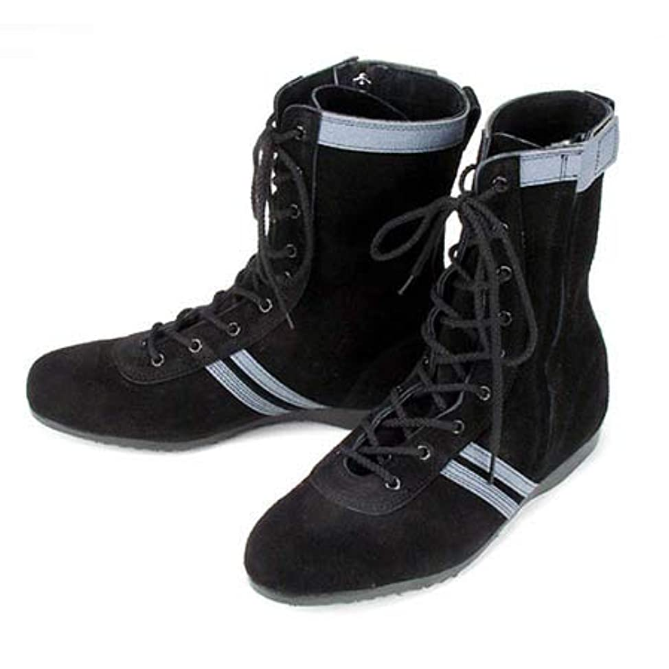 転倒視力残高[アテネオ] 安全靴 半長靴 セーフティーブーツ 青木産業 技 F-1 国産品 横ファスナー スエード F1 鋼鉄先芯 黒(カラー 26.5)