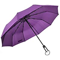 Automatic Folding Umbrella Ten Bone Vented Windproof Rain Three Folding Purple Unbreakable Reinforced Double Canopy