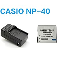 【PCATEC】 CASIO NP-40 対応互換バッテリー+充電器☆セット EX-Z100/ EX-Z200/ EX-Z300
