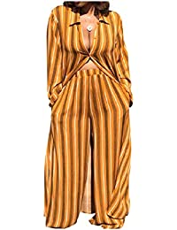 Candiyer 女性のpalazzoパンツカーディロングファッションドレス2ピースセット