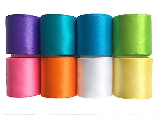 LaRibbons スプリング, サマー, イースターのリボン, 単一の色 サテンリボン (24(3ヤード*8)1-1/2インチ ブライトシリーズ)