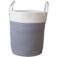 Fenteer 全3色2サイズ 収納かご 雑貨 オーガナイザー ハンドル付き ランドリーバスケット 便利グッズ - グレー, L