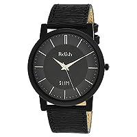 Relishメンズスリムブラックダイヤルアナログ腕時計