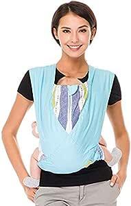 CUBY 抱っこひも ベビースリング おんぶ 軽量 コンパクト お出かけ 持ち運び 脱着 簡単 安全 綿100% (ブルー)