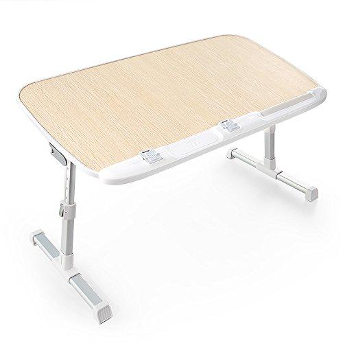 TaoTronics 折りたたみ式 ラップトップテーブル 高さ調整可 ベッドテーブル 読書のための広いスタンディングテーブル イス脚収納可 ソファーデスク 食事トレイ 多彩な用途の折りたたみ式テーブル TT-SD003