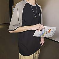 2019ファッションTシャツ香港メンズ綿原宿スタイルカラー半袖のぼろぼろの半袖の愛好家はシャツを着ます,黒,2XL