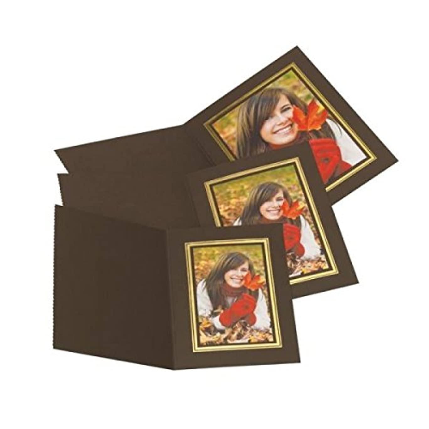 消毒するつまらない鎖Kenro Slip In Photo Folder 8x12'' Upright Pack 10 Brown Gold [PMA058/10]