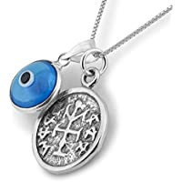 Winning & Winners Silver Solomon Seal Coin Charm on Silver Necklace with Green Evil Eye for Protection - Jewelry for Men and Women