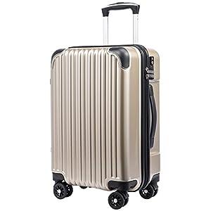 [クールライフ] COOLIFE スーツケース キャリーバッグダブルキャスター 一年安心保証 機内持込 ファスナー式 人気色 超軽量 TSAローク (S サイズ(機内持ち込み), シャンパン)