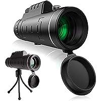 Rautotoy単眼鏡40×60 スマホクリップ式10倍単筒望遠鏡 ズーム望遠レンズ 三脚付き 登山コンサート携帯型
