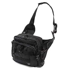 Leastat フィッシングバッグ ロッドホルダー付き 大容量 軽量 ワンショルダー バッグ タックルバッグ ランガン バッグ (黒)