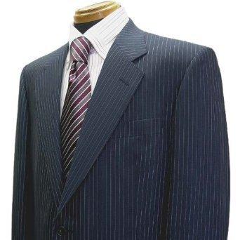 春夏 シングル2釦スーツ Super130'sウール生地使用 紺系ストライプ AB6 日本製高級品 アウトレット ロロ・ピアーナ