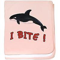 CafePress – Whale – I Bite – -スーパーソフトベビー毛布、新生児おくるみ ピンク 05554868756832E