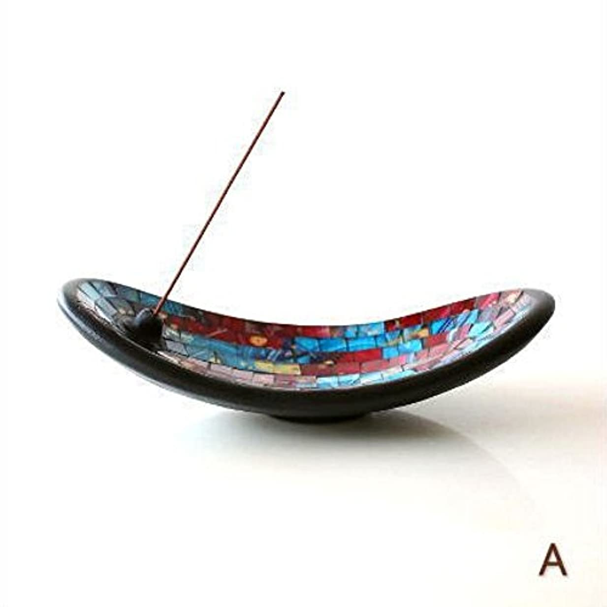 光沢のある精算自然公園お香立て スティック おしゃれ かわいい モザイクガラスのインセンスホルダー [tom4305] (A)