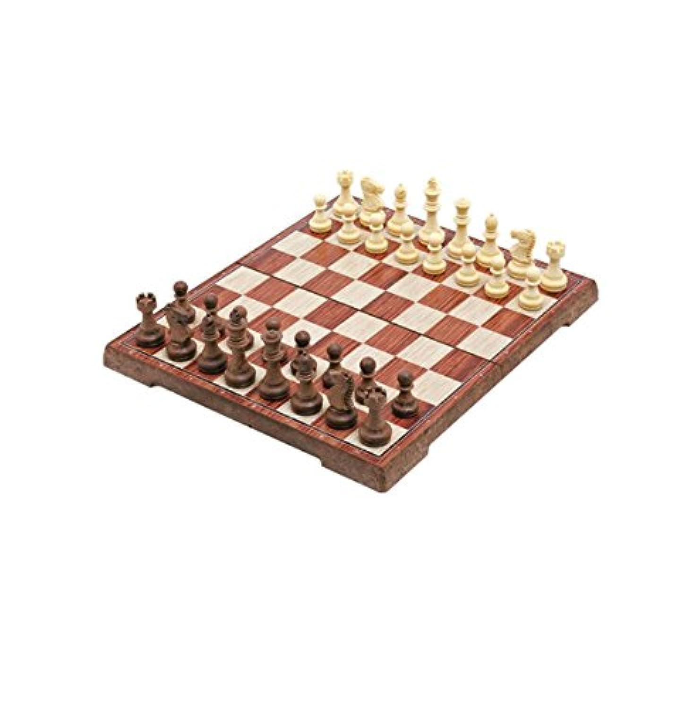 Haobase 木目プラスチック折りたたみ磁気チェス