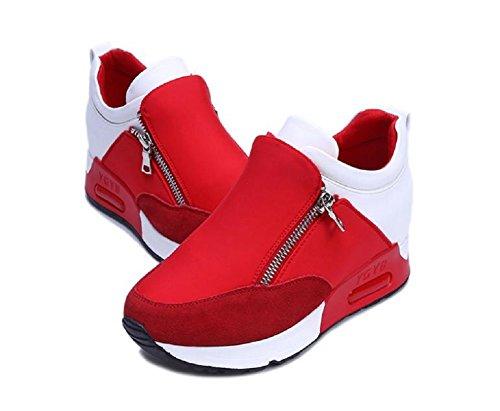 [クロ\u0026アーダー] バイカラー 厚底 スニーカー レディース シューズ ハイカット ファスナー インヒール 黒 白 赤 歩きやすい ジッパー 靴 くつ  (24cm,
