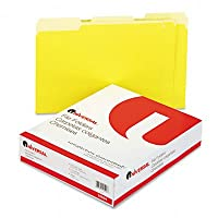 Colored File Folders, 1/3 Cut One-Ply Top Tab, Letter, Yellow/Lt Yellow, 100/Box (並行輸入品)