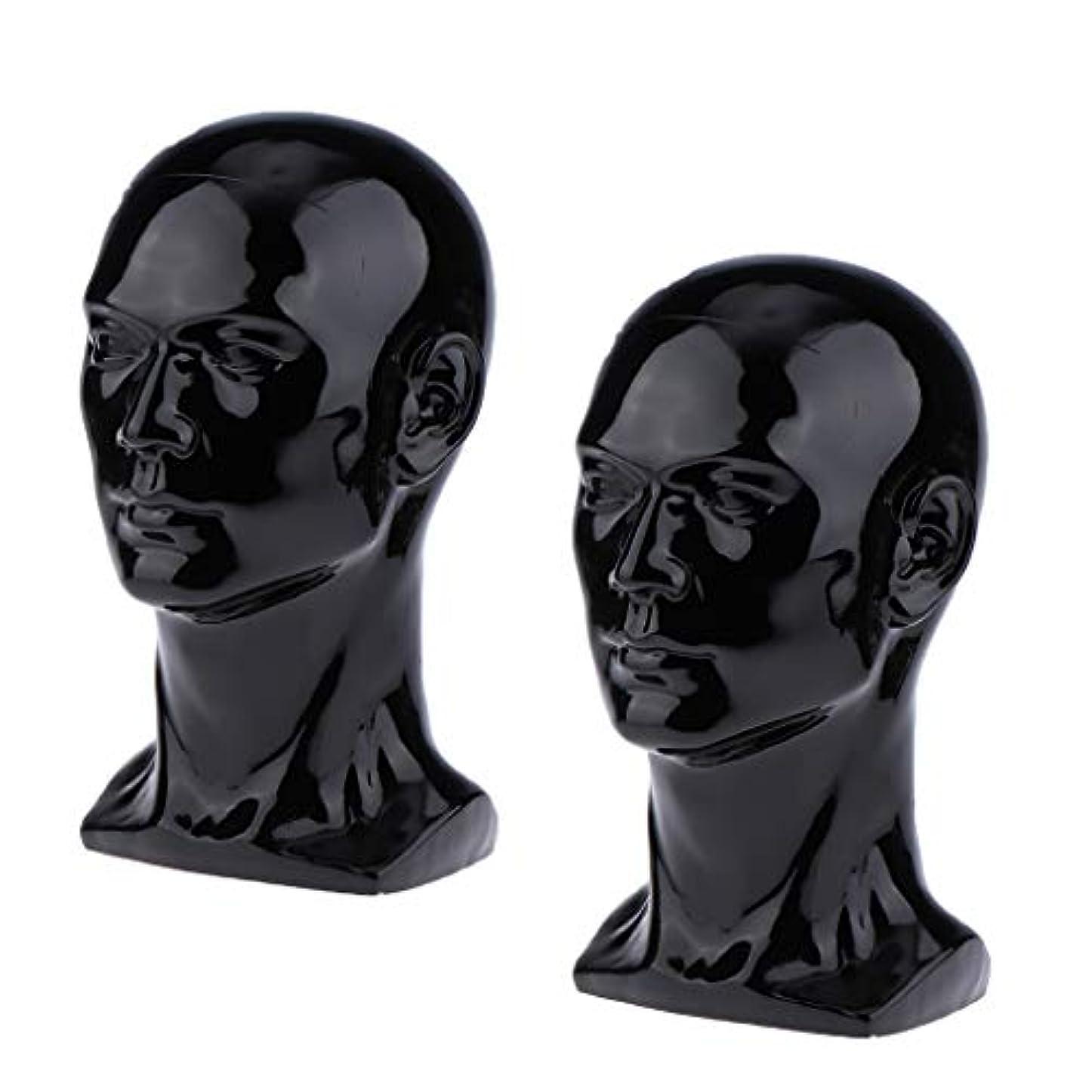 スタウト黒それToygogo 2×男性マネキンマネキンヘッドメガネキャップかつらジュエリーディスモデル
