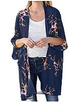 WE&energy 女性バットスリーブシャツ花プリント薄いカーディガンセーター AS1 L