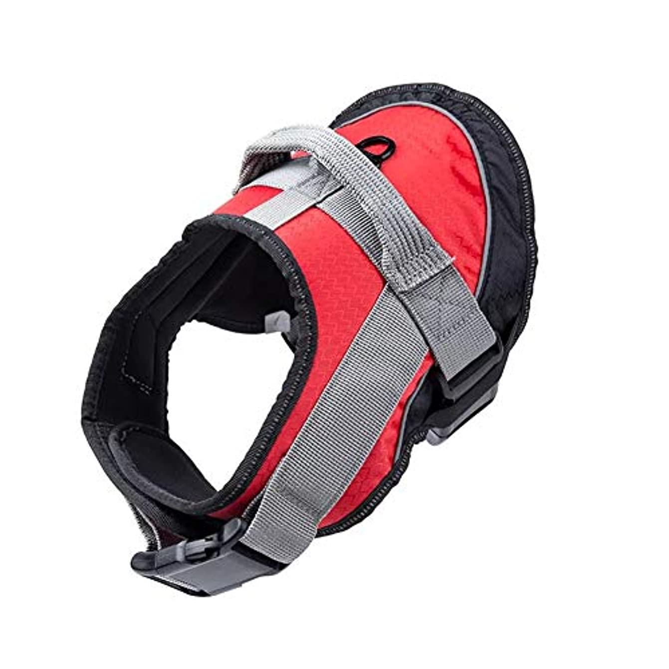 パドルジャズ彼らのもの犬ハーネス 調節可能なチェストストラップ 上部にハンドル付きの通気性パッド入りベスト 大型犬用のロックバックル付きの簡単な着脱ハーネス,赤,XL
