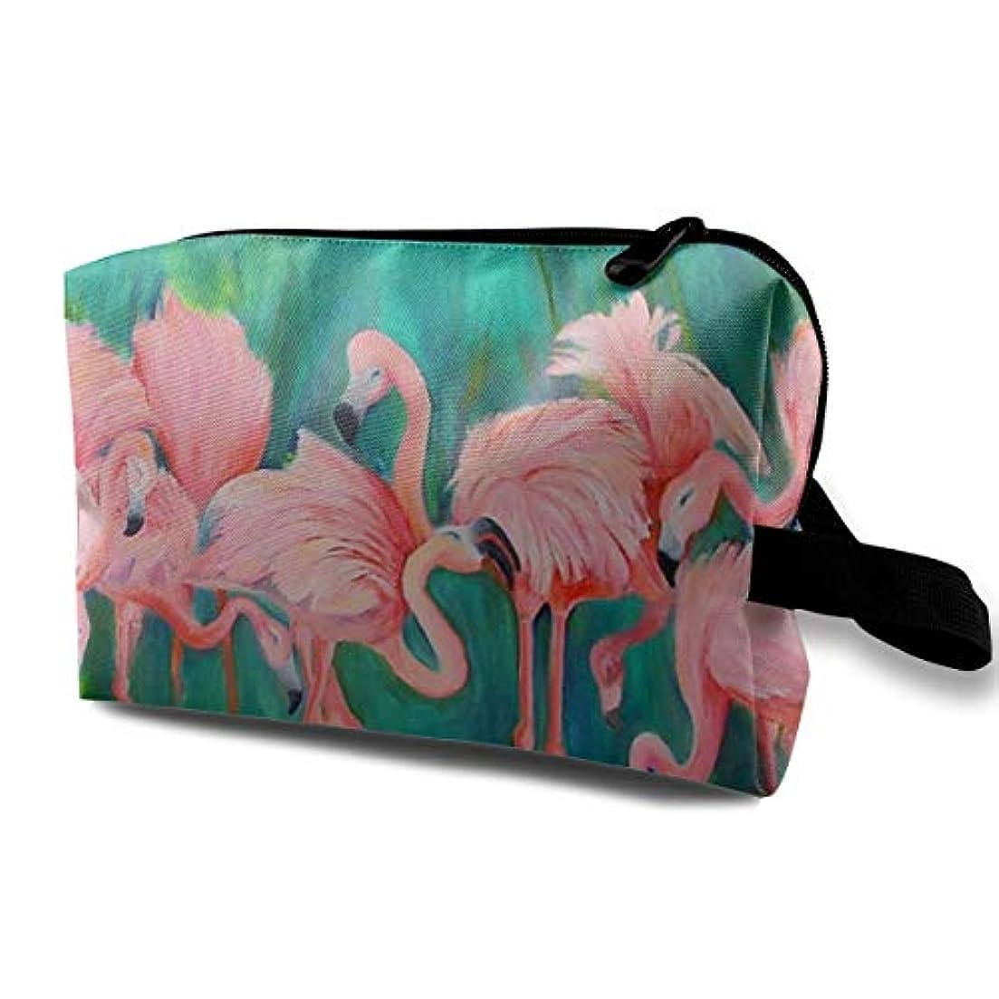 矛盾する階層未来Love Heart Flamingos 収納ポーチ 化粧ポーチ 大容量 軽量 耐久性 ハンドル付持ち運び便利。入れ 自宅?出張?旅行?アウトドア撮影などに対応。メンズ レディース トラベルグッズ