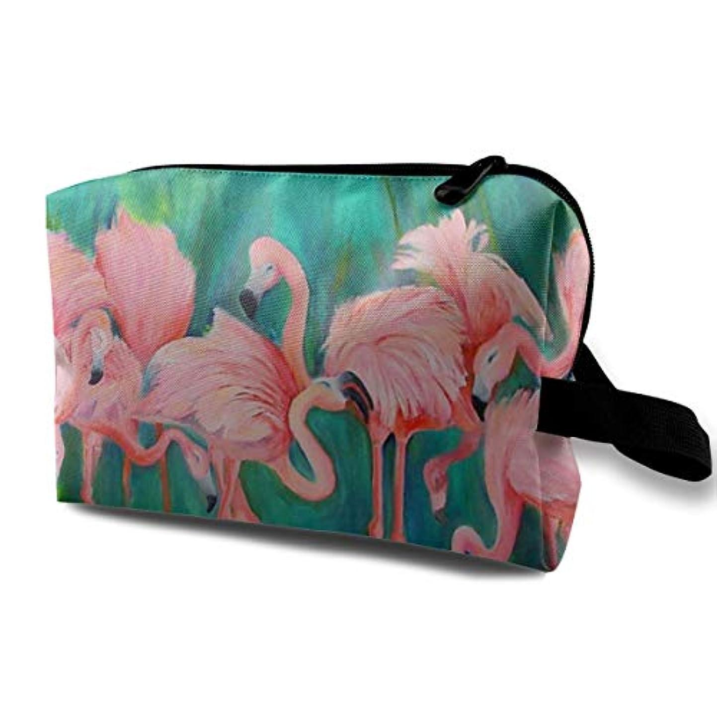 強大なスクラップブック去るLove Heart Flamingos 収納ポーチ 化粧ポーチ 大容量 軽量 耐久性 ハンドル付持ち運び便利。入れ 自宅?出張?旅行?アウトドア撮影などに対応。メンズ レディース トラベルグッズ