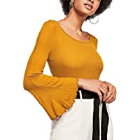Cantonwalker Yellow Bell Sleeve Slim Bottoming T-Shirt Autumn Long-Sleeved Knit Tops 0076
