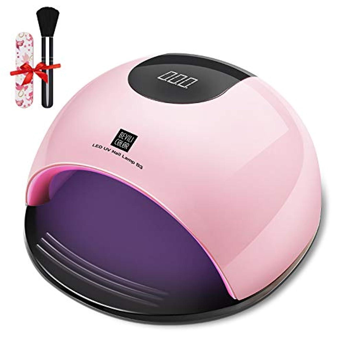 小数シュリンクスタイルジェルネイル ライトレジン uvライトネイルドライヤー ハンドフット両用 ネイル led ライト80W ハイパワー ジェルネイルライト 肌をケア センサータイマー付き (Pink)