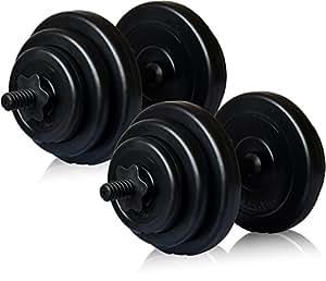 YouTen(ユーテン) ダンベル 10kg 20kg 25kg 30kg ×2個セット バーベル ホームジム トレーニング 筋トレ トレーニング (ブラック(10kg×2セット)20kg)