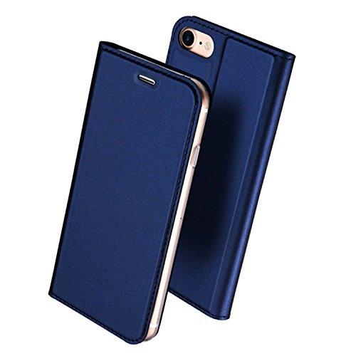 iPhone6 Plus ケース iPhone6s Plus ケース 手帳型 薄型 軽量 耐衝撃 耐摩擦 高級PUレザー 財布型 カード収納 マグネット スタンド機能 付 き スマホケース アイフォンケース 人気 おしゃれ ケース (iPhone6 Plus/6s Plus, ブルー)