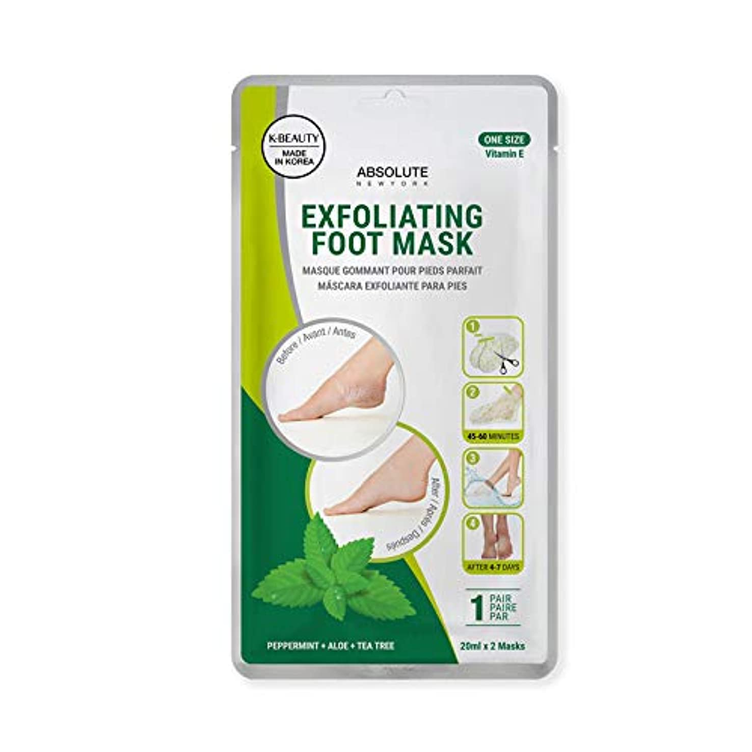 検体多年生ママ(3 Pack) ABSOLUTE Exfoliating Foot Mask - Peppermint + Aloe + Tea Tree (並行輸入品)