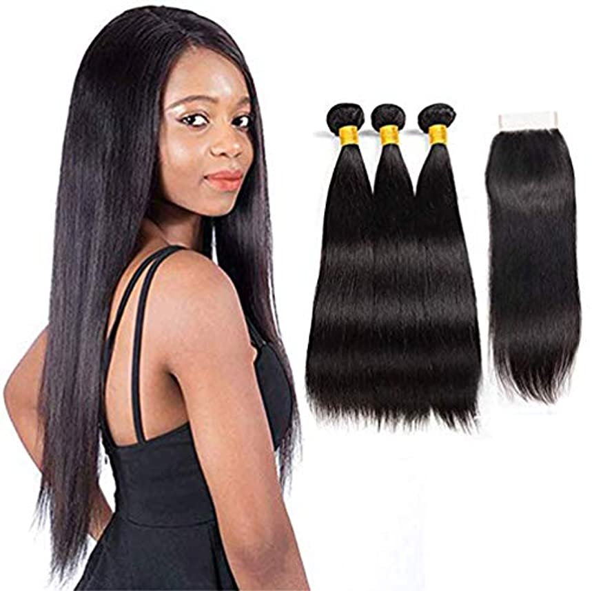 ペイント減らす探偵毛織りマレーシアの髪1閉鎖が付いているまっすぐなremy毛閉鎖が付いている人間の毛髪延長の自然な二重よこ糸