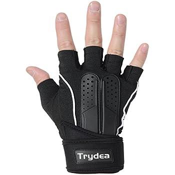 Trydea トレーニンググローブ 筋トレ ウェイトリフティング ジム フィットネス リストラップ 付き (ブラック, Medium)