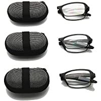 3 Pairs Pack Mini Folding Reading Glasses with Case, 1.0 to +3.5 Men Women Foldable Presbyopia Hyperopia Pocket Reader