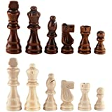 "AMEROUS Wooden Chess Pieces 3.03"" King, Hand Carved Figure Figurine Chess Pawns Nature Wood Chessmen, French Staunton Style"