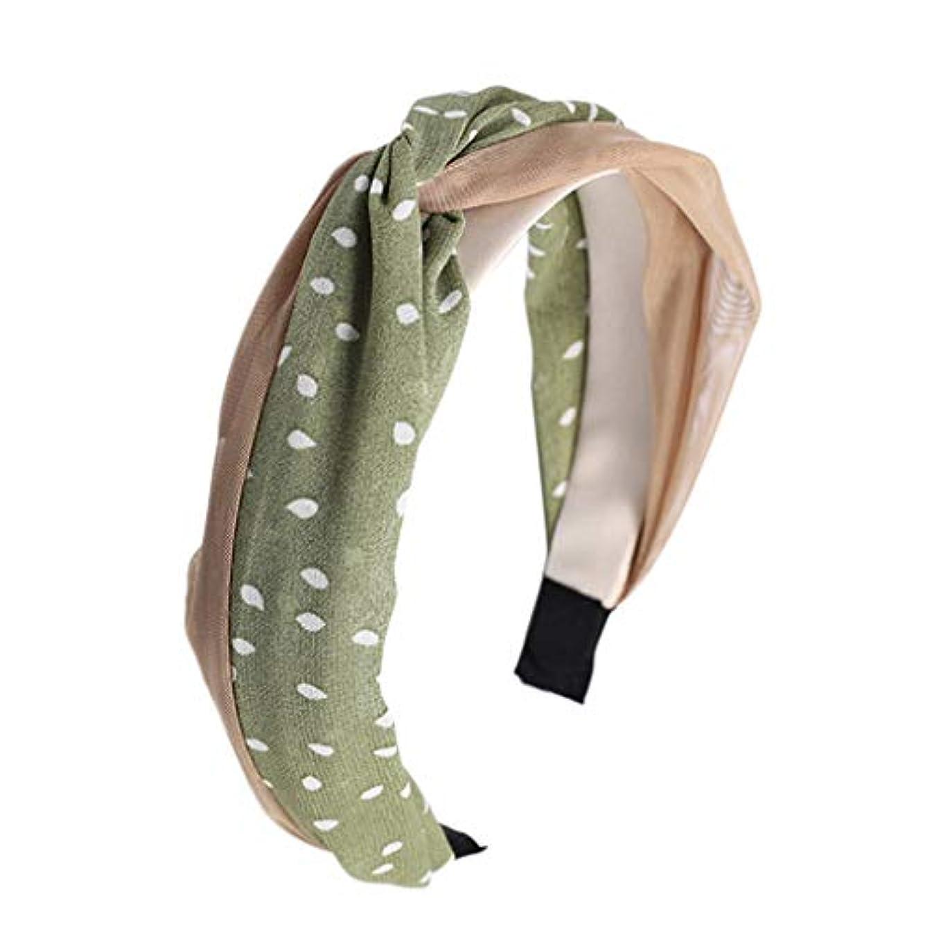 ひも竜巻キャストManyao 韓国風の新鮮な女性のメッシュポルカドットヘッドバンドヴィンテージツイスト結び目ワイヤーヘアフープ (緑)