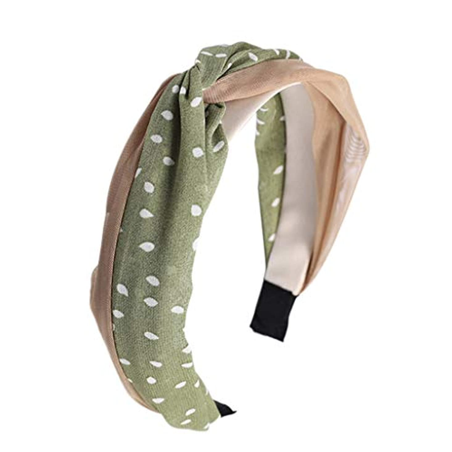 素晴らしい罹患率危機Manyao 韓国風の新鮮な女性のメッシュポルカドットヘッドバンドヴィンテージツイスト結び目ワイヤーヘアフープ (緑)
