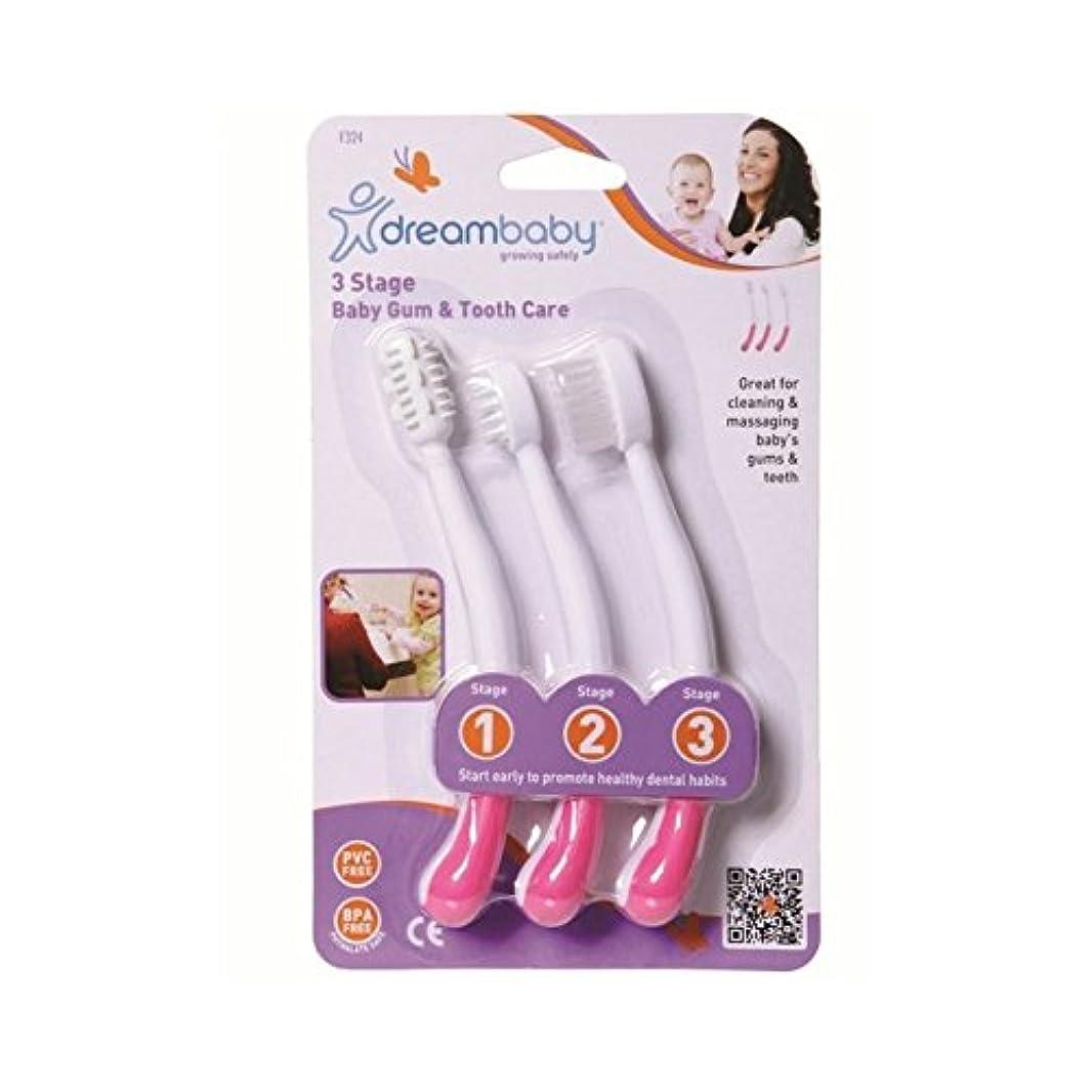 豆記念碑写真撮影歯ブラシは、3段階のピンクを設定しました (Dreambaby) (x 4) - Dreambaby Toothbrush Set 3 Stage Pink (Pack of 4) [並行輸入品]