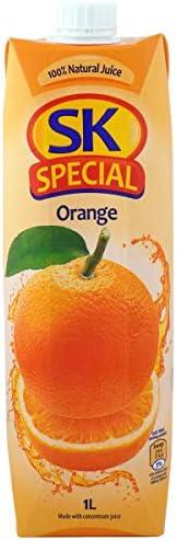SK Special オレンジジュース 100% [ キプロス産 常温保存 キャップ付き 保存料 着色料不使用 ] 1000ml ×12本