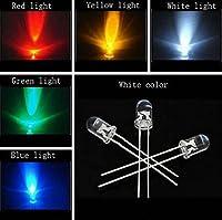 20個x 5色= 100個3mm白赤黄青緑発光ダイオードスーパーブライト電球Ledランプ新ラウンド