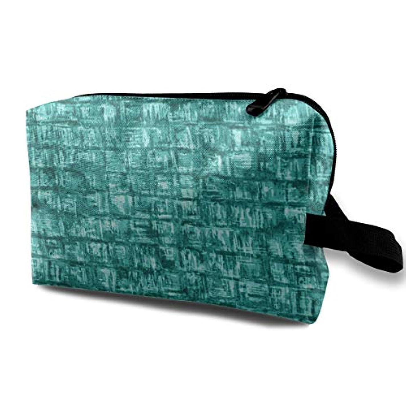 ハンディに付けるするだろうTurquoise Abstract Squares Fabric Texture 収納ポーチ 化粧ポーチ 大容量 軽量 耐久性 ハンドル付持ち運び便利。入れ 自宅?出張?旅行?アウトドア撮影などに対応。メンズ レディース...