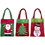 HEALLILY 3pcs Christmas Candy Bags Non-Woven Fabric Portable Organizer Tote Bag Gift Bag Candy Pouch for Package Festival
