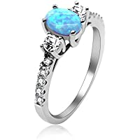 Uloveido 2.16g 925 Sterling Silver Birth-Stone Ring Oval Cut Created Blue Fire Opal with Round Clear CZ Accent Luxury Wedding Engagement Jewelry for Women (Size 5 6 7 8 9 10) JZ104