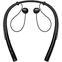 Bluetoothワイヤレス止めバンドスポーツイヤホン、マイク、安全around-the-neck襟、12時間充電式バッテリー、Perfect for working out ブラック DQ14