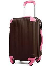 (レジェンドウォーカー) LEGEND WALKER 超軽量 Wファスナー容量アップ拡張機能付 スーツケース (17色4サイズ) おしゃれでかわいい キャリーケース スムーズな移動が可能な4輪タイプ (Mサイズ(5~7泊/61(拡張時72)L), チョコ/ピンク)