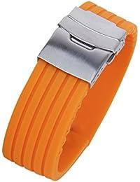 【ノーブランド品】時計バンド 交換ベルト シリコンゴム 腕時計ストラップ 防水 22mm  縦シマ オレンジ