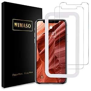 【ガイド枠付き】【2枚セット】 Nimaso iPhone XR 用 強化ガラス液晶保護フィルム 硬度9H/高透過率/貼り付け簡単 ( 6.1 インチ iPhoneXR 用 保護フィルム )